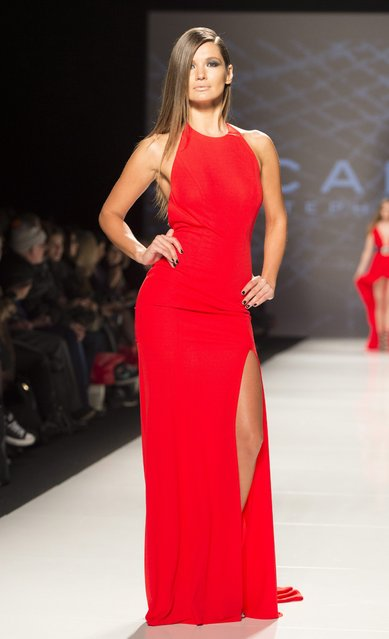 A model walks the runway in the Stephan Caras show during Toronto fashion week in Toronto on Friday, March 27, 2015. (Photo by Frank Gunn/AP Photo/The Canadian Press)