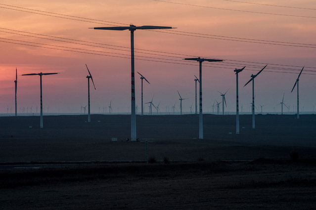 A wind farm near Xilingol. (Photo by Gilles Sabrie/The Washington Post)