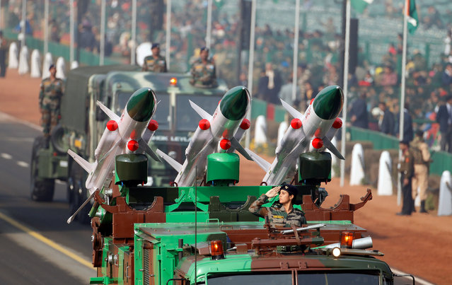 Rockets are displayed during rehearsals for India's Republic Day parade in New Delhi, India January 23, 2017. (Photo by Cathal McNaughton/Reuters)