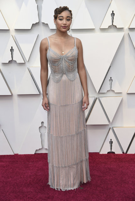 Amandla Stenberg arrives at the Oscars on Sunday, February 24, 2019, at the Dolby Theatre in Los Angeles. (Photo by Richard Shotwell/Invision/AP Photo)