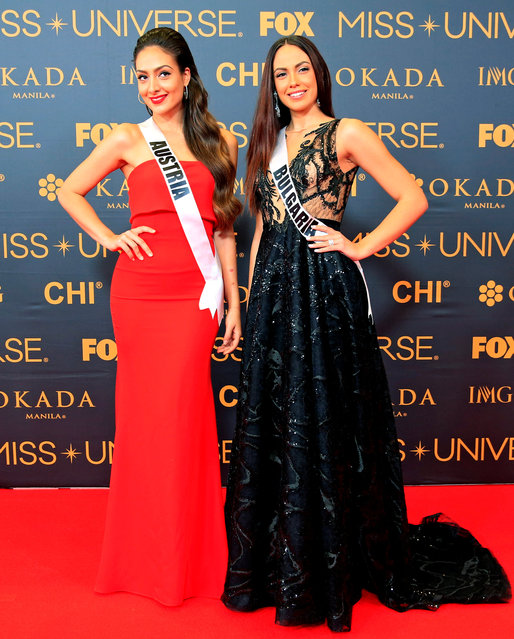 Miss Universe candidates Dajana Dzinic of Austria and Violina Ancheva of Bulgaria pose for a picture during a red carpet inside a SMX convention in metro Manila, Philippines January 29, 2017. (Photo by Romeo Ranoco/Reuters)