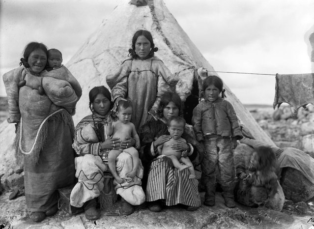 "Geraldine Moodie overcame harsh conditions to become western Canada's first professional female photographer, capturing beautiful images in the country's most remote regions. An exhibition, ""North of Ordinary: The Arctic Photographs of Geraldine and Douglas Moodie"", is at Glenbow, Calgary, 18 February – 10 September. Here: Inuit women and children at summer camp, Fullerton Harbour, Nunavut, August 1906. (Photo by Geraldine Moodie/The Guardian)"