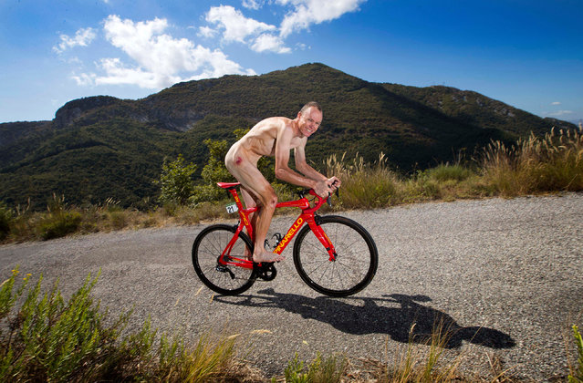 Chris Froome photographed for Sporting Body in September 2017, on the climb of the Col de la Madone in France. Froome had just won the Vuelta a España after his fourth Tour de France victory earlier in the year. (Photo by Marc Aspland/the Times)