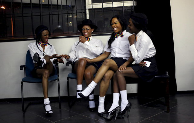 Contestants laugh as they wait backstage ahead of the Miss Gay Jozi pageant in Johannesburg, May 23, 2015. (Photo by Siphiwe Sibeko/Reuters)