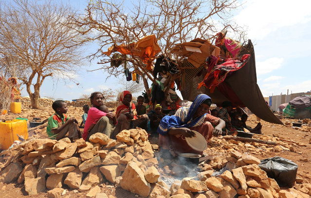 An internally displaced Somali woman prepares a meal outside her shelter after fleeing from drought stricken regions at a makeshift camp in Baidoa, west of Somalia's capital Mogadishu, March 26, 2017. (Photo by Feisal Omar/Reuters)
