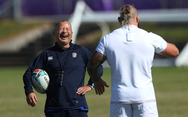 England coach Eddie Jones shares a joke with Joe Marler during England captains run ahead of the 2019 Rugby World Cup Final at Fuchu Asahi Football Park on November 01, 2019 in Tokyo, Japan. (Photo by Stu Forster/Getty Images)