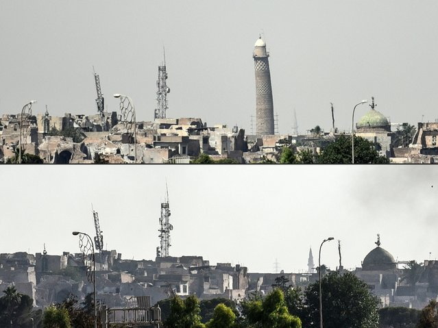 """This combination of pictures created on June 22, 2017 shows (top) a picture taken on June 20, 2017, of Mosul's leaning Al-Hadba minaret and (bottom) a picture taken on June 22, 2017 of Mosul's skyline missing it's trademark minaret the day after it was blown up by Islamic State (IS) group fighters. Explosions on June 21 evening levelled both the Nuri mosque where Abu Bakr al-Baghdadi gave his first sermon as leader of the Islamic State group and its ancient leaning minaret, known as the """"Hadba"""" (Hunchback). (Photo by Mohamed El-Shahed/AFP Photo)"""