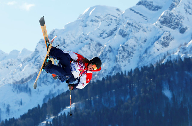 Britain's James Woods performs a jump during the men's freestyle skiing slopestyle qualification round at the 2014 Sochi Winter Olympic Games in Rosa Khutor, Russia, February 13, 2014. (Photo by Lucas Jackson/Reuters)