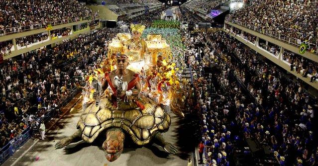 The Imperatriz Leopoldinense samba school parades during celebrations at the Sambadrome in Rio de Janeiro