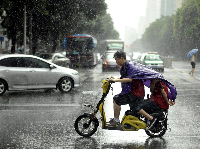 A Chinese boy drives a scooter while his passenger shelters from heavy downpours under the driver's raincoat, Fuzhou, Fujian Province, China, 23 July 2014. Typhoon Matmo, the second to hit China in a week, caused widespread damage as it passed through the Philippines before arriving in Taiwan, finally making landfall in Fujian Province, on the afternoon 23 July. (Photo by Liu Tao/EPA)