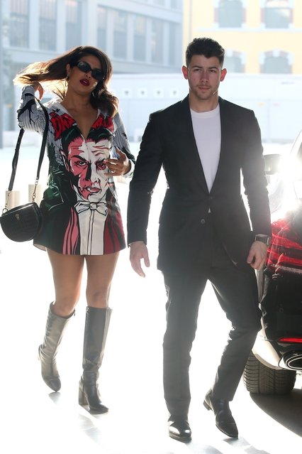 Celebrity couple Nick Jonas and Priyanka Chopra seen leaving Paper moon restaurant, before visiting a watch shop and then heading to Ceresio 7 lounge in Milan, Italy on February 15, 2020. (Photo by Backgrid USA)