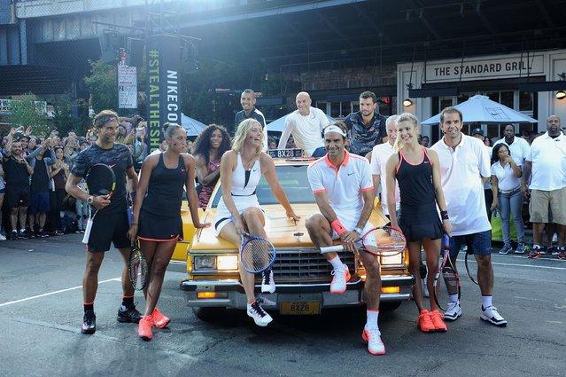 "Tennis Players Rafael Nadal, Serena Williams, Madison Keys, Nick Kyrgios, Maria Sharapova, Pete Sampras, Andre Agassi, Genie Bouchard, Roger Federer,  Grigor Dimitrov and John McEnroe attends Nike's ""NYC Street Tennis"" event on August 24, 2015 in New York City. (Photo by Brad Barket/Getty Images)"