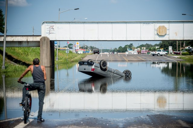 A bicyclist looks at a truck flipped into floodwater in Port Arthur, Texas on September 1, 2017. Houston was limping back to life on Friday one week after Hurricane Harvey slammed into America's fourth-largest city and left a trail of devastation across other parts of southeast Texas. As flood waters receded in Houston and residents began slowly returning home other nearby towns such as Rockport, Beaumont and Port Arthur were struggling to get back on their feet. (Photo by Emily Kask/AFP Photo)