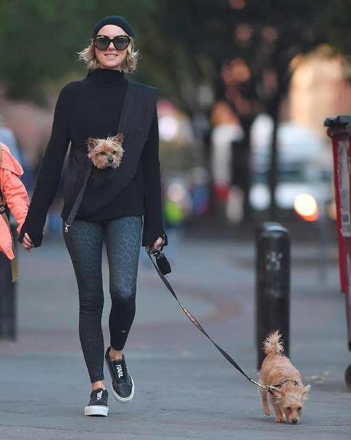 Naomi Watts brings her puppies to the school run in New York City, New York on November 3, 2017. (Photo by Robert O'neil/Splash News and Pictures)