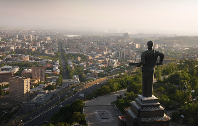 Mother Armenia, sword in hand, looking out over Yerevan and towards Turkey. (Photo by Amos Chapple/Rex Features)