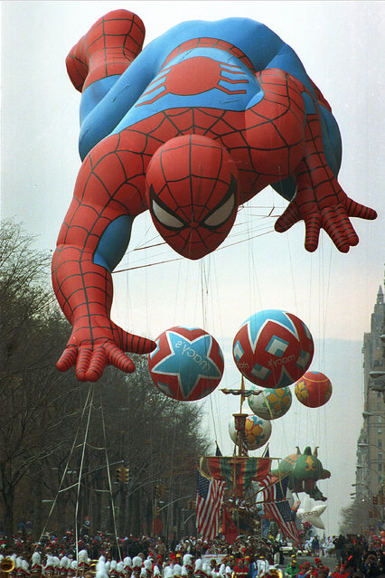 Spider Man makes his way down Central Park West in Manhattan at the start of the 65th annual Macy's Thanksgiving Day Parade on Thursday morning, November 28, 1991. (Photo by Mark D. Phillips/AP Photo)