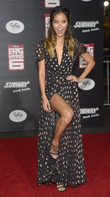"""Cast member Jamie Chung attends the premiere of the film """"Big Hero 6"""" in Los Angeles November 4, 2014. (Photo by Phil McCarten/Reuters)"""