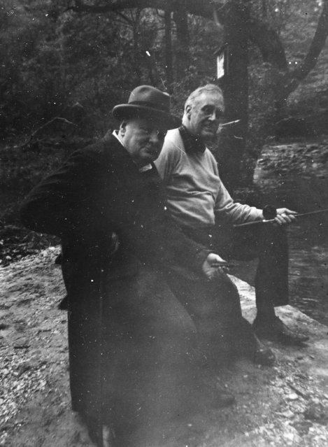 """Franklin D. Roosevelt and Winston Churchill at the presidential retreat Shangri, La"". May 14, 1943. (Photo by an unknown photographer)"