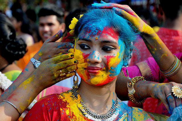 Student Rabindra Bharati University celebrates the Holi festival, Color Festival on February 26, 2018 in Kolkata, India. (Photo by Debajyoti Chakraborty/NurPhoto via Getty Images)