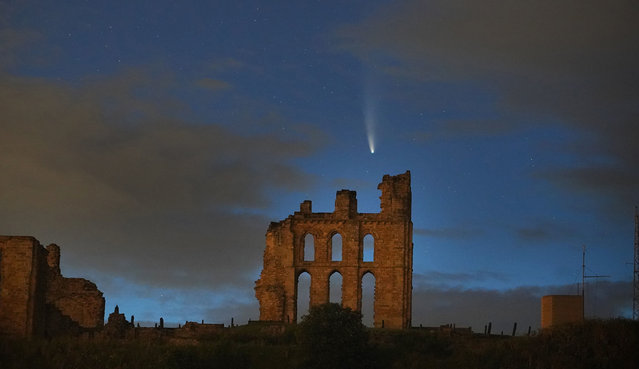 Comet Neowise passes over Tynemouth Priory in North Shields on the UK North East coast on July 17, 2020. (Photo by Owen Humphreys/PA Images via Getty Images)