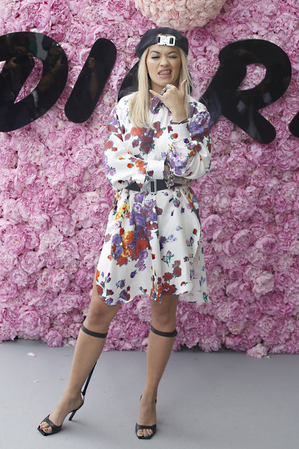 Singer Rita Ora poses for photographers upon arrival at the Dior Men's Spring-Summer 2019 fashion collection presented in Paris, Saturday June 23, 2018. (Photo by Thibault Camus/AP Photo)