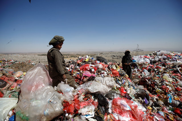 A boy looks out as he stands on a pile of rubbish at landfill site on the outskirts of Sanaa, Yemen November 16, 2016. (Photo by Mohamed al-Sayaghi/Reuters)