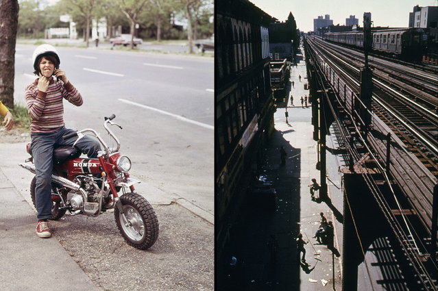 Left: A young New Yorker ready to roar off on his Honda, in June of 1973. Right: Brooklyn's Bushwick Avenue seen from an elevated train platform in New York City, June 1974. (Photo by Arthur Tress/Danny Lyon/NARA via The Atlantic)
