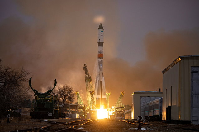 Soyuz-2.1a carrier rocket with the Progress MS-16 cargo spacecraft blasts off to the International Space Station (ISS) from the launchpad at the Baikonur Cosmodrome, Kazakhstan on February 15, 2021. (Photo by Russian space agency Roscosmos/Handout via Reuters)