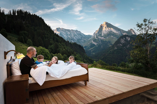 """The Toggenburg project by Zero Real Estate, is based on an idea by artists Frank and Patrik Riklin, who have essentially taken three hotel rooms and dropped them into the middle of secluded Wildhaus, in Switzerland's picturesque Toggenburg region, for 45 days this year. For CHF 295 (£228) per night, awaken to a """"concerto of alpine birds"""" from the outdoor double bed. You'll also get a welcome drink, breakfast basket in bed, and your own personal butler for the night. (Photo by Silvan Widmer/Toggenburg Tourismus/Handout)"""