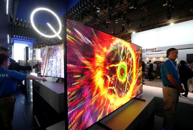Samsung QLED televisions are displayed during the 2017 CES in Las Vegas, Nevada January 5, 2017. (Photo by Steve Marcus/Reuters)