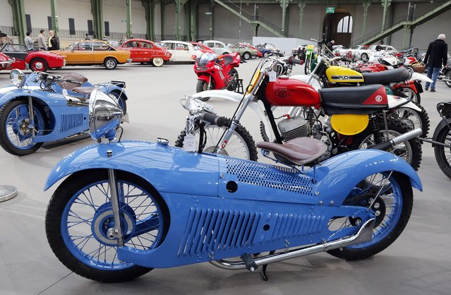 A motorcycle Majestic 350 CC 1931 is displayed on February 5, 2014 at the Grand Palais in Paris on the eve of an auction of luxury vintage cars. (Photo by Francois Guillot/AFP Photo)