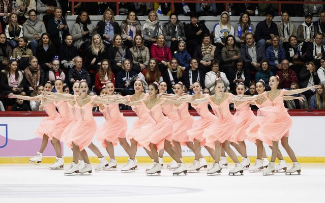 Team Paradise from Russia perform their free skating routine to win the ISU World Synchronized Skating Championships 2019 in Helsinki, Finland on April 13, 2019. (Photo by Roni Rekomaa/ Lehtikuva via AFP Photo)