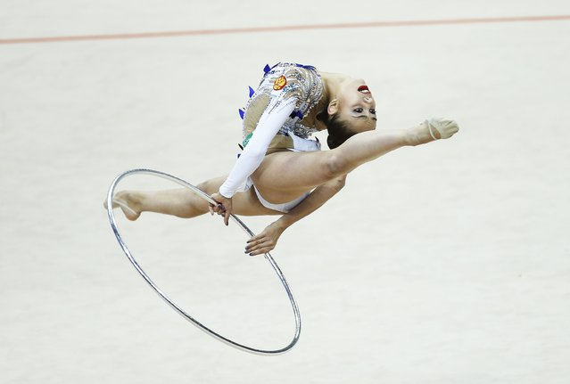 Russia's Margarita Mamun performs in the individual final programme at the 31st European Rhythmic Gymnastics Championships in Minsk, Belarus, May 3, 2015. (Photo by Vasily Fedosenko/Reuters)