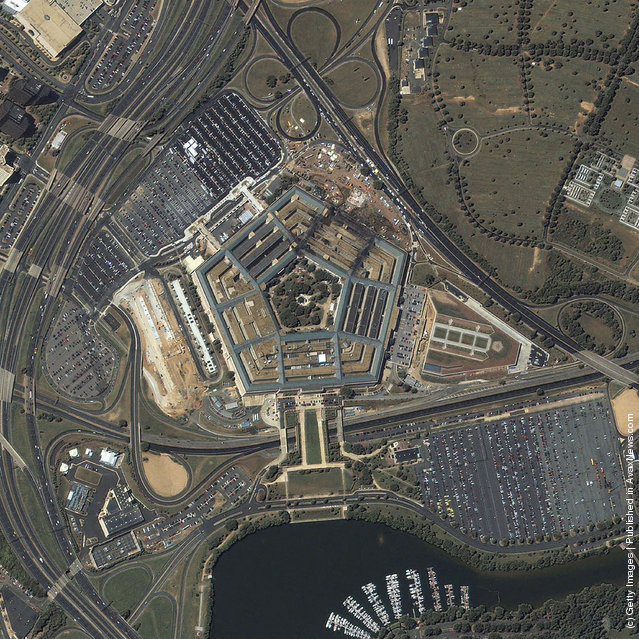 A satellite image of the Pentagon was taken at 11:46 a.m. EDT September 12, 2001 by the IKONOS satellite over Washington D.C.