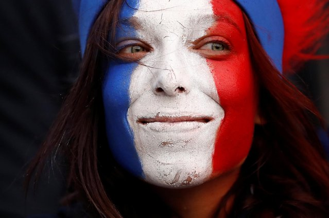 A France fan inside the stadium before the Group A soccer match between France and South Korea on the occasion of the Women's World Cup at the Parc des Princes in Paris, Friday, June 7, 2019. (Photo by Christian Hartmann/Reuters)