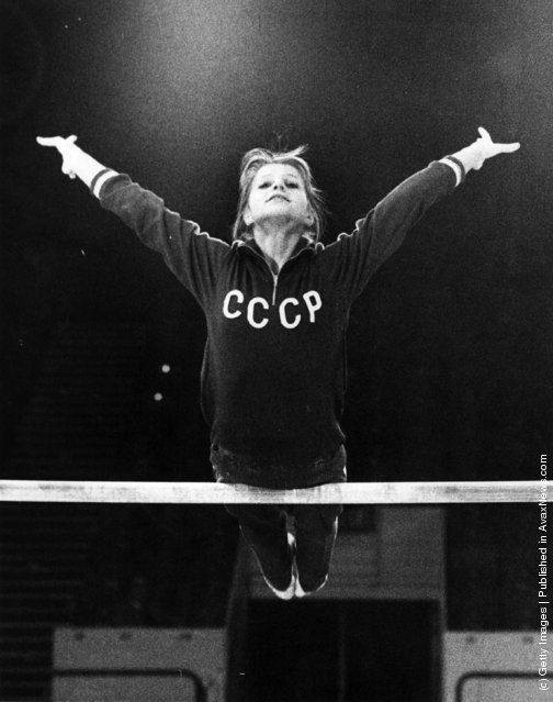 1975: Russian gymnast and Olympic gold medal winner Olga Korbut