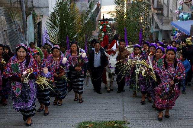 Residents take part in a procession following  a figure of Jesus Nazarene on a donkey during Palm Sunday celebration in San Pedro Sacatepequez on the outskirts of Guatemala City, Guatemala April 9, 2017. (Photo by Luis Echeverria/Reuters)