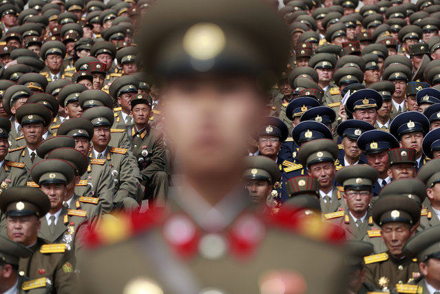 "North Korean soldiers watch the parade for the ""Day of the Sun"" festival on Kim Il Sung Square in Pyongyang, North Korea, 15 April 2017. (Photo by How Hwee Young/EPA)"