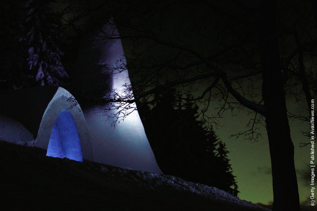 A church made entirely of snow and ice in southern Bavaria