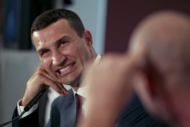 Ukrainian heavyweight boxing world champion Vladimir Klitschko reacts during a news conference in Duesseldorf, Germany July 21, 2015. (Photo by Ina Fassbender/Reuters)