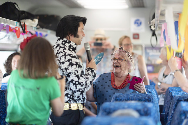 Atmosphere during the Elvis Express train from Sydney to Parkes on January 09, 2020 in NSW, Australia. The Parkes Elvis Festival is held annually over five days, timed to coincide with Elvis Presley's birth date in January. (Photo by Wendell Teodoro/Getty Images)