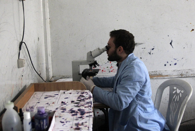 A medical laboratory technician views blood samples from patients showing symptoms of leishmaniasis through a microscope at a hospital in Aleppo, February 11, 2013. (Photo by Muzaffar Salman/Reuters)