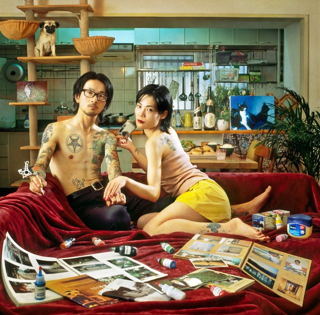 Sakura and Kazuhiro, Tokyo, 2015. Kazuhiro is a tattoo artist and Sakura is a photographer. They love cooking, live with their dog and two cats and each have the date of their wedding tattooed to their ring fingers. (Photo by Mami Kiyoshi/Galerie Annie Gabrielli/The Guardian)