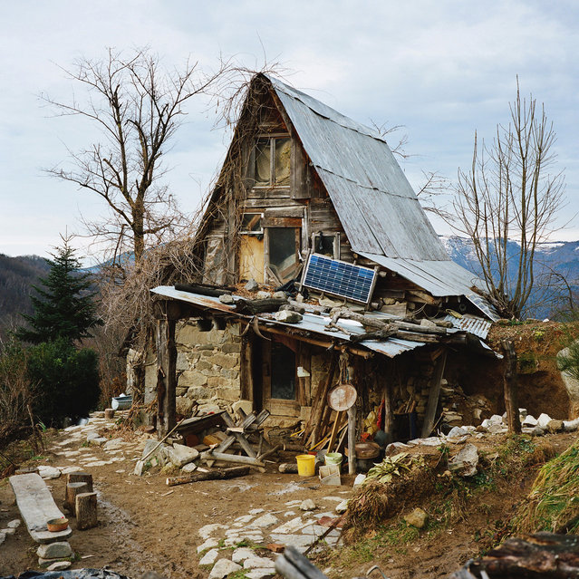This property in the French Pyrenees is owned by a German man, who moved with his family here 25 years ago. He has since renovated the shack to be a completely self-sufficient house. There are no electrical appliances, but the solar panel powers small lights in the house. (Photo by Antoine Bruy)