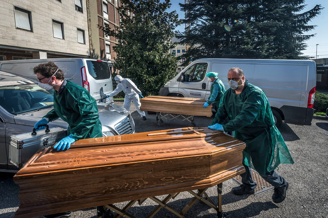 Mortuary Chamber of the Ponte San Pietro Hospital in the Province of Bergamo on March 18, 2020 – the area in Italy where the highest number of infections was recorded by COVID19 Coronavirus. (Photo by Carlo Cozzoli/IPA/SIPA Press/Rex Features/Shutterstock)