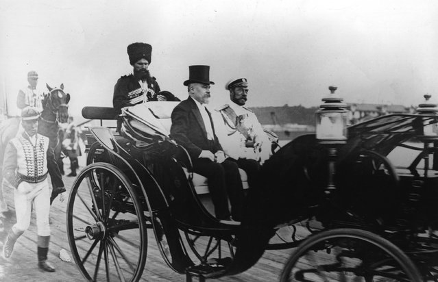 French President Raymond Nicholas Poincare (1860–1934) with Tsar Nicholas II of Russia (1868–1918), during a state visit to Russia, July 24, 1914.