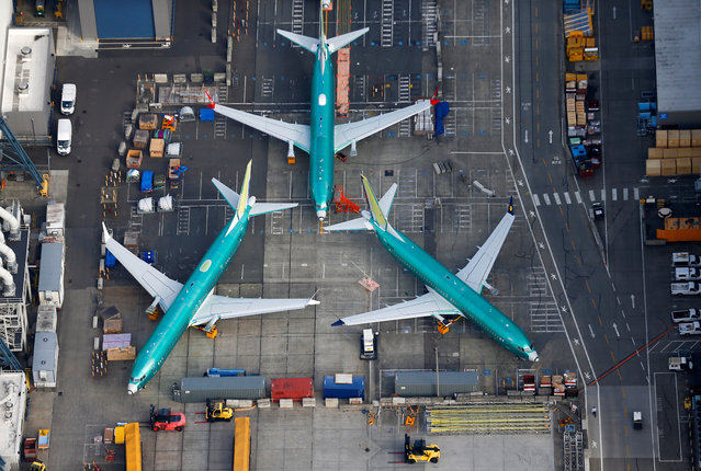 An aerial photo shows Boeing 737 MAX airplanes parked on the tarmac at the Boeing Factory in Renton, Washington, U.S. March 21, 2019. (Photo by Lindsey Wasson/Reuters)