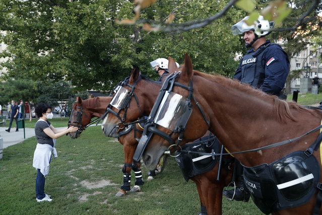 A woman touches a police horse during a demonstration in Belgrade, Serbia, Wednesday, July 8, 2020. Serbia's president Aleksandar Vucic backtracked Wednesday on his plans to reinstate a coronavirus lockdown in Belgrade after thousands protested the move and violently clashed with the police in the capital. (Photo by Darko Vojinovic/AP Photo)