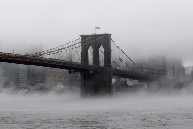 The Brooklyn Bridge is seen partially in fog from in front of the Manhattan skyline in Brooklyn, New York, U.S., January 12, 2018. (Photo by Shannon Stapleton/Reuters)