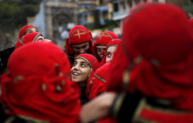 Dancers gets ready for their performance during the annual Tbilisoba festival, celebrating Tbilisi City Day in Tbilisi, Georgia, October 17, 2015. (Photo by David Mdzinarishvili/Reuters)